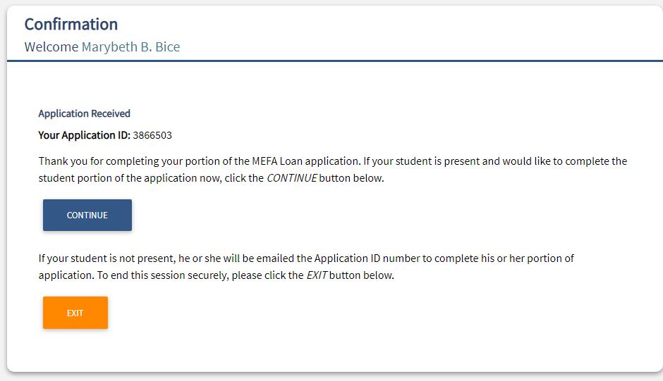 MEFA loan application, next applicant's section