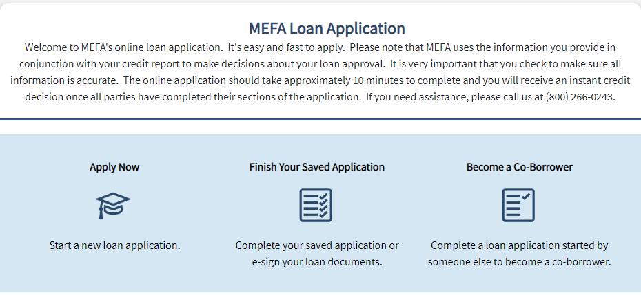 MEFA loan application, retrieve application