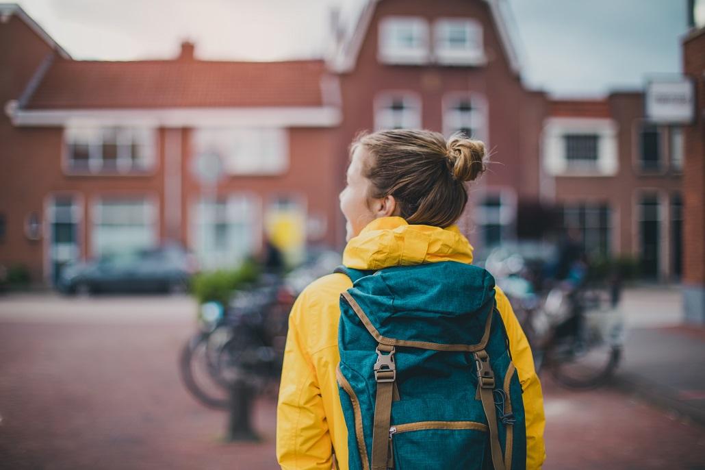 Homesick College Freshman walking on campus
