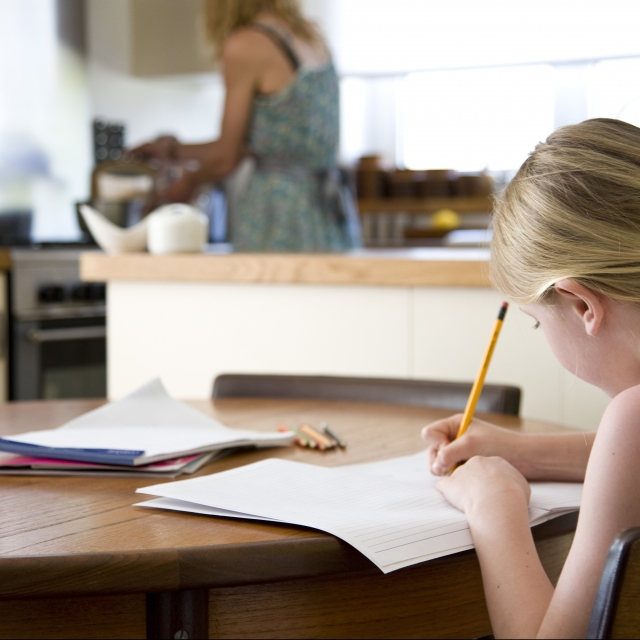 Young girl working on homework