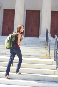 Asian Female Student Heading Off To Class