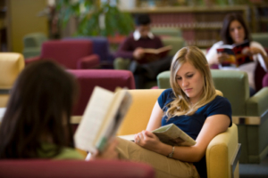 College students studying in the library