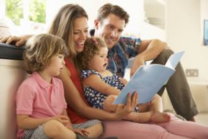 Parents reading with young children