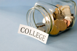 Money jar of college savings