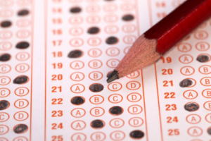 Pencil on a scantron