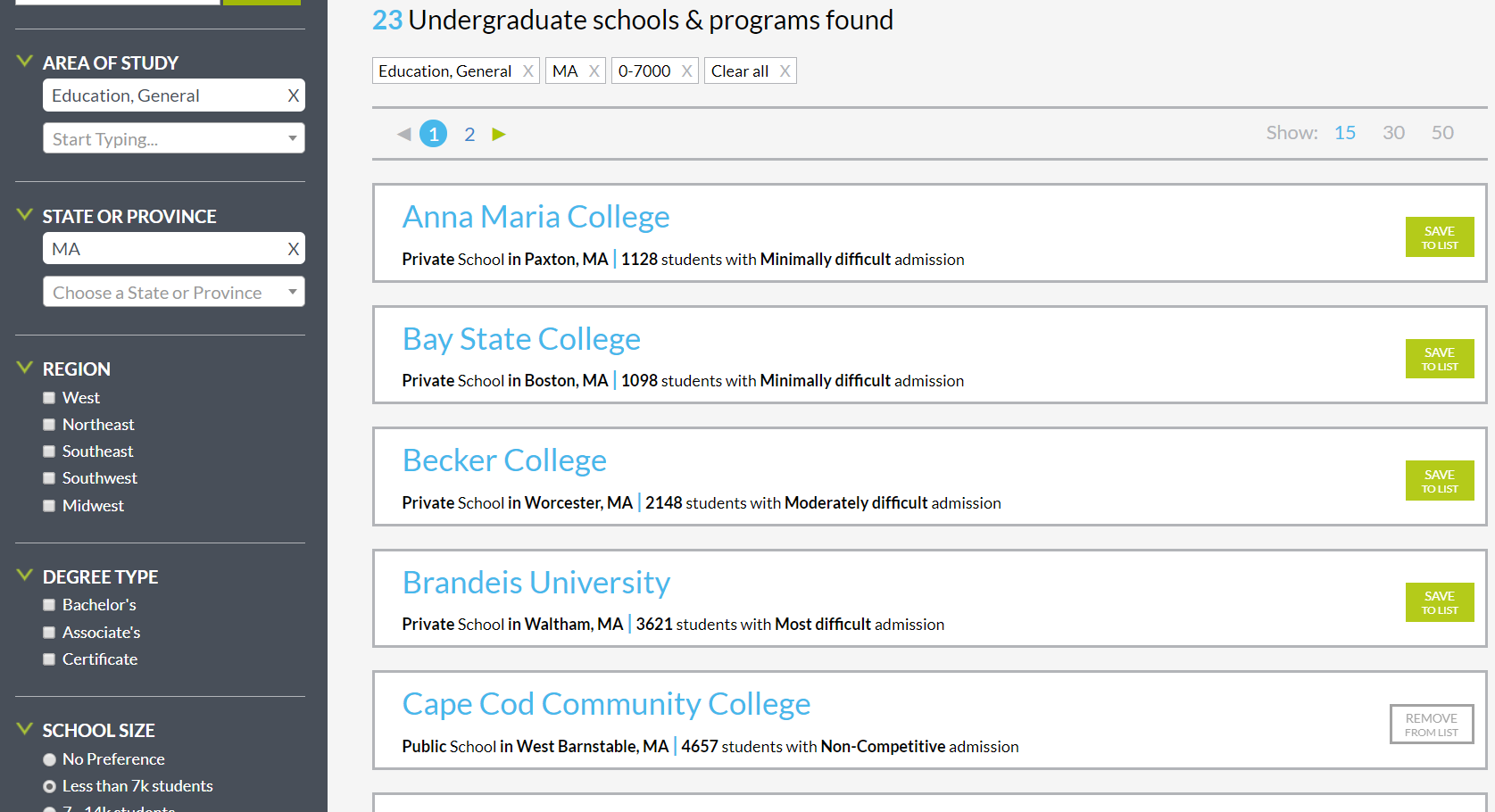 MEFA Pathway College Search