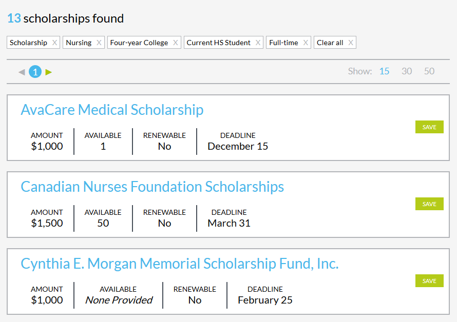 MP Scholarship Search Results