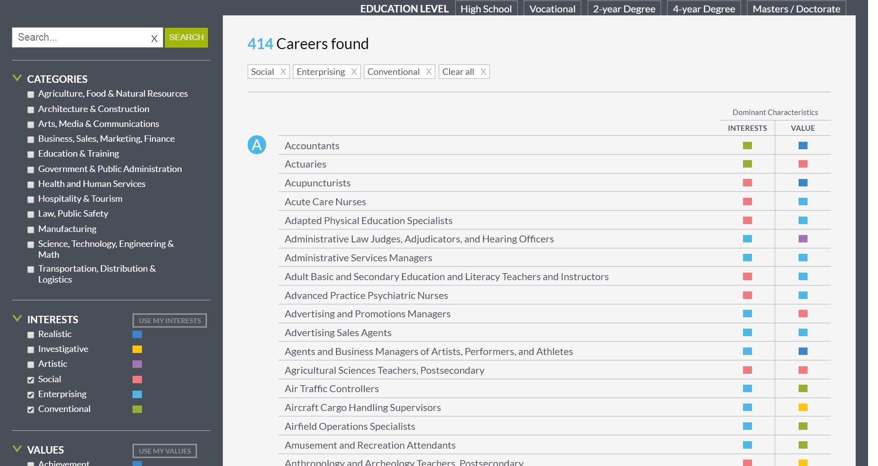 MEFA Pathway Career Search List