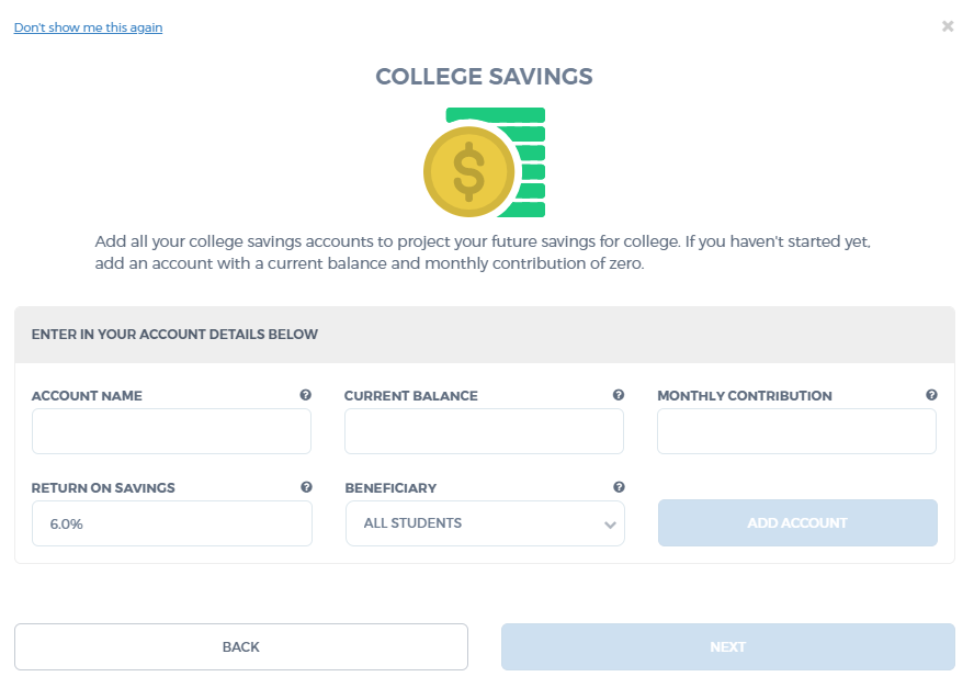 MEFA's College Planning Tool - Add College Savings
