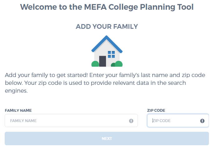 MEFA's College Planning Tool - Add Family