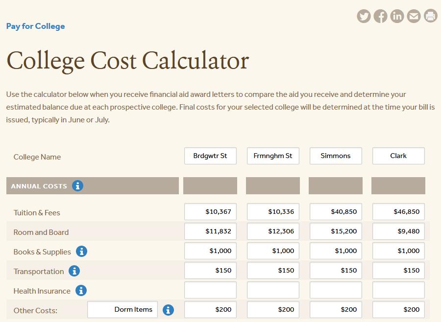 MEFA's College Cost Calculator