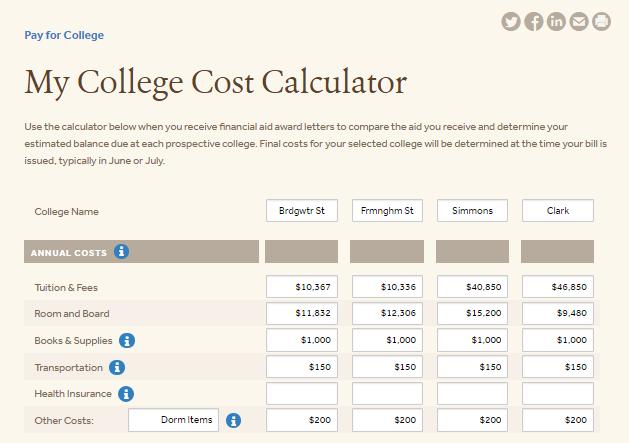 My College Cost Calculator 1