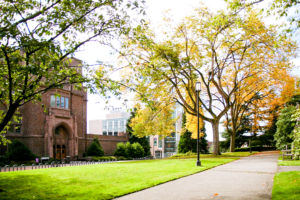 College campus exterior in the fall