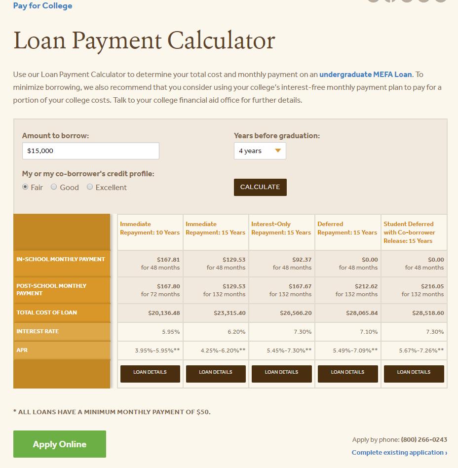 MEFA Loan Payment Calculator
